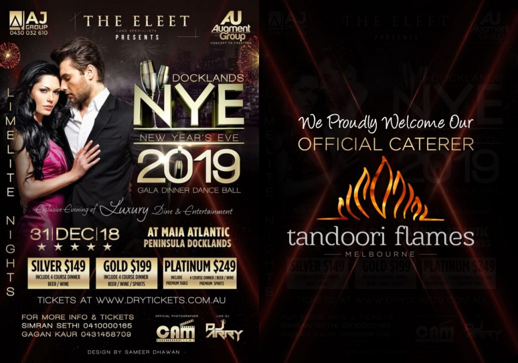 TANDOORI FLAMES is Official Caterer for Docklands NEW YEAR EVE 2019